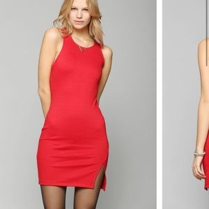 Asymmetrical red mini dress
